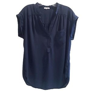 Pleione Navy Blue Blouse, front pocket & v neck
